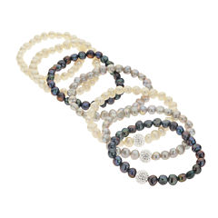 Cultured Freshwater Pearl & Crystal 7-pc. Stretch Bracelet Set