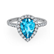 Genuine Swiss Blue Topaz & Lab-Created White Sapphire Sterling Silver Ring