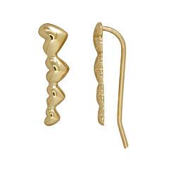 10K Gold Graduated Heart Climber Earrings