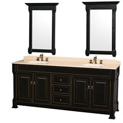 Andover 80 inch Double Bathroom Vanity; Ivory Marble Countertop; Undermount Oval Sinks; and 28 inchMirrors
