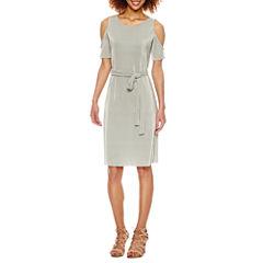 Belle + Sky Plisse Cold Shoulder Dress
