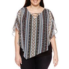 Alyx Short Sleeve V Neck Woven Blouse-Plus