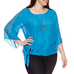 Alyx 3/4 Crochet Sleeve Tie Front Woven Blouse with Necklace-Plus