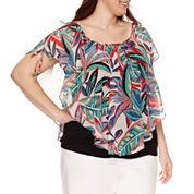 Alyx Short Sleeve Tie Shoulder Woven Overlay Blouse-Plus