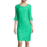Studio 1® 3/4 Bell Sleeve Daisy Lace Sheath Dress