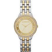 Liz Claiborne® Womens Two-Tone Crystal-Accent Bracelet Watch