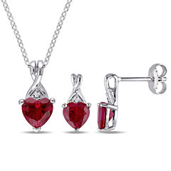 Womens 2-pc. Red Ruby Sterling Silver Jewelry Set