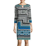 Tiana B. 3/4-Sleeve Print Keyhole Shift Dress