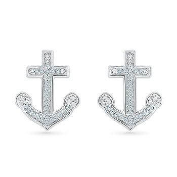 1/10 CT. T.W. White Diamond Sterling Silver 15mm Stud Earrings