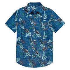 Arizona Boys Short Sleeve Button-Front Shirt Boys 8-20 and Husky