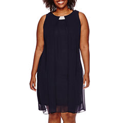 MSK Sleeveless Split-Front Woven Shift Dress - Plus