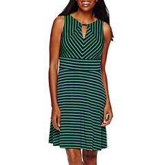 Liz Claiborne® Sleeveless Striped Fit-and-Flare Dress