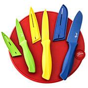 Fiesta® 7-pc. Cutlery Set with Scarlet Round Cutting Board