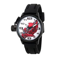 Marvel® Mens Deadpool Black and White Crown Protector Strap Watch