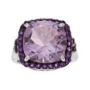 Genuine Pink and Purple Amethyst Sterling Silver Ring