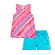 Arizona Sleeveless Lace-Inset Top or Plaid Cargo Shorts - Baby Girls 3m-24m