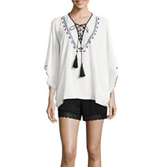 Bisou Bisou® Lace-Up Embroidered Kaftan Top or Smocked Lace Shorts