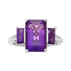 Genuine Amethyst Sterling Silver Ring