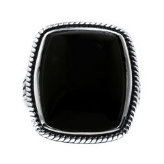 Genuine Black Onyx Sterling Silver Rectangular Ring