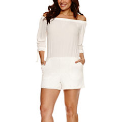 Bisou Bisou Off the Shoulder Lace Romper