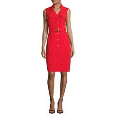 Sharagano Sleeveless Shirt Dress