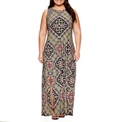 London Times Sleeveless Maxi Dress-Plus