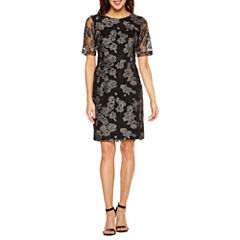 Scarlett 3/4 Sleeve Embellished Fit & Flare Dress