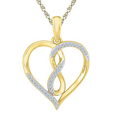 Womens 1/10 CT. T.W. White Diamond 10K Pendant Necklace Set