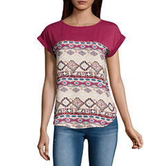 Rewind Short Sleeve Round Neck T-Shirt-Womens Juniors