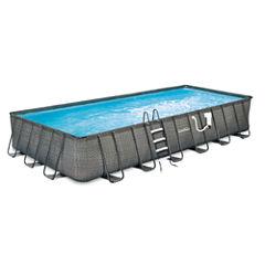 Summer Waves Elite Dark Wicker 12-ft x 24-ft Rect.Metal Frame Pool Package - 52-in Deep