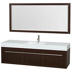 Axa 72 inch Single Bathroom Vanity; Acrylic ResinCountertop; Integrated Sink; and 70 inch Mirror