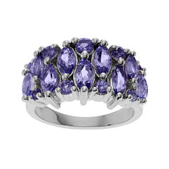 Genuine Tanzanite Sterling Silver Band Ring