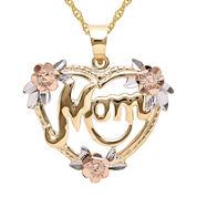 Infinite Gold™ 14K Gold Tri-Color Mom Flower Heart Pendant Necklace