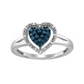 14 Ct Tw White Amp Color enhanced Blue Diamond Sterling Silver Heart Ring