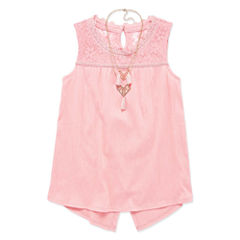 AZ Lace Split Back Tank and Necklace - Girls' 7-16 and Plus