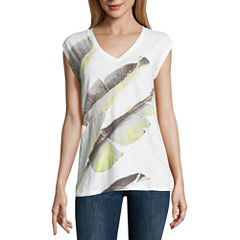 Liz Claiborne Sleeveless V Neck T-Shirt-Womens