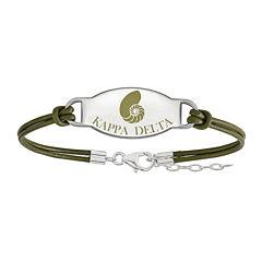 Kappa Delta Sterling Silver Oval Leather Bracelet