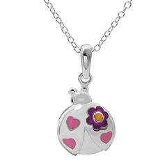 Hallmark Kids Sterling Silver Enamel Lady Bug Pendant Necklace