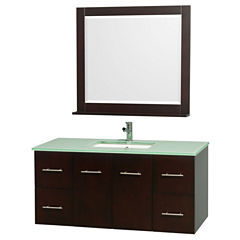 Centra 48 inch Single Bathroom Vanity; Green GlassCountertop; Square Porcelain Undermount Sink; and36 inch Mirror
