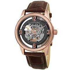 Stuhrling Mens Brown Strap Watch-Sp15354