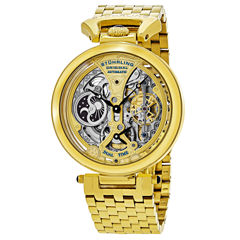 Stuhrling Mens Gold Tone Bracelet Watch-Sp15833