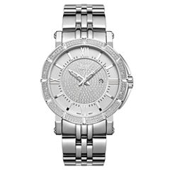JBW Vault Stainless Steel 0.24 C.T.W Diamond Accent Mens Silver Tone Bracelet Watch-J6343b