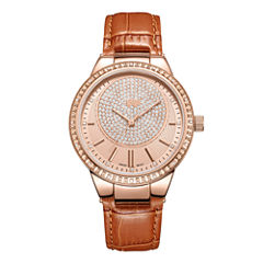 JBW Camille 18k Rose Gold-Plated Stainless Steel 0.16 C.T.W Diamond Accent Womens Brown Bracelet Watch-J6345d