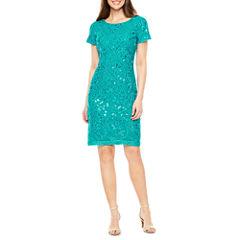 Studio 1 Short Sleeve Embroidered Sheath Dress