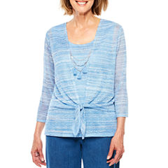 Alfred Dunner Indigo Girls Tie-Dye Layered Top