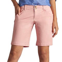 Lee Straight Fit Twill Bermuda Shorts-Petites