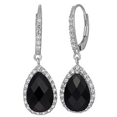 Genuine Black Onyx & Lab Created White Sapphire Sterling Silver Earrings