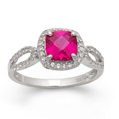 Lab Created Ruby & Lab Created White Sapphire Sterling Silver Ring