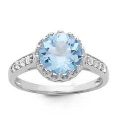Sterling Silver Lab Created Blue Aquamarine Crown Ring