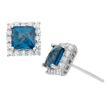 Genuine London Blue Topaz Amp Lab Created White Sapphire Sterling Silver Earrings